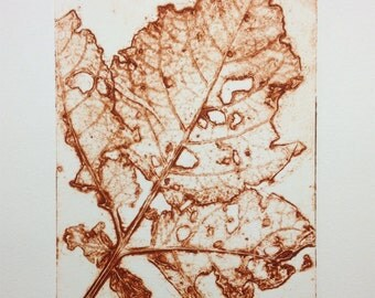 Autumn 3 - leaf collagraph print