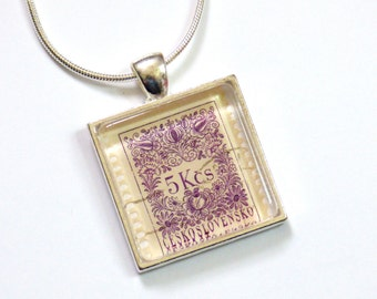 OOAK Czechoslovakia Postage Stamp Glass Tile Pendant Necklace Recycled Material Repurposed Postal Mail Czech Purple Upcycled Paper Jewelry