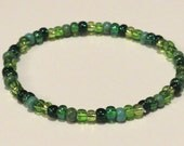 Green Rainbow Bracelet made from Seed Beads and stretch cord
