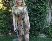 Dresses, Plus Size, Tie Dye Dress, Plus Size Tie Dye, Gold, Rust, Olive & Black, S M L XL 2X 3X, loose Sleeve, V Neck dress, A line