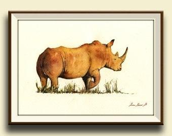 PRINT-White Rhino  head african portrait art watercolor painting - Art Print by Juan Bosco