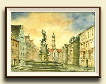 PRINT-Augsburg Bavaria Germany city - architecture cityscape - Art Print by Juan Bosco