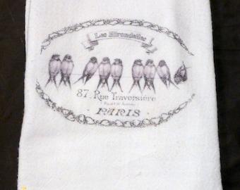 Flour Sack Towel - Bird Towel - Kitchen towel - Tea towel - dish towel - 100% cotton - decorative kitchen towel - Paris - French Country