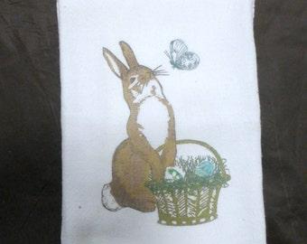 Easter Bunny Flour Sack Towel - Bunny Towel - Tea Towels - Kitchen towel - Hostess Gift - dish towel - 100% cotton - Easter Bunny