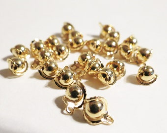 25pcs Gold Plated Bell Charm Drops, 8mm Gold Charms, 8mm Gold Plated Bell Drops, Jewelry Charms, Jewelry Drops, Jewelry Making Supplies