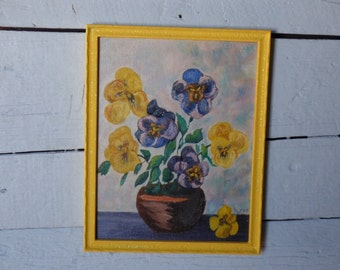 Oil painting Pansies in yellow frame
