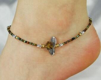 Anklet, Ankle Bracelet, Flower Anklet, Leaf Anklet Leaf Jewelry Beaded Anklet, Minimalist Anklet Minimalist Jewelry Boho Anklet Boho Jewelry
