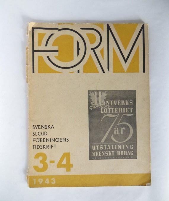 1943 Form Magazine Vintage Book Swedish Design Mid Century