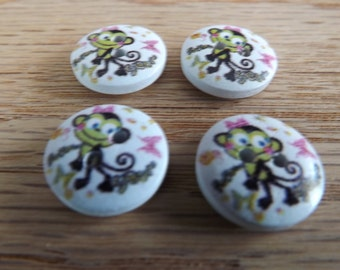 10 monkey buttons wood round monkey buttons 2 hole wood buttons
