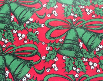 Vintage Christmas Gift Wrapping Paper - Green Christmas Bells and Holly on Red Background - 1 Unused Full Sheet Gift Wrap