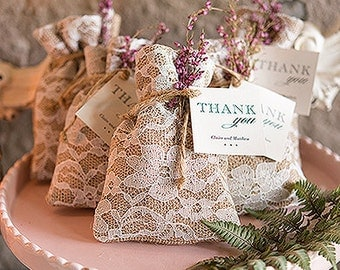 Packages of 12 Rustic Chic Burlap And Lace Drawstring Favor Bag
