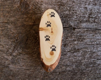 Cat Fridge Magnet. Rustic Fridge Magnet. Wooden Fridge Magnet with Cat Tracks. Cat Lover Magnet. Cat Lover Gift. Cat Paw Magnet.