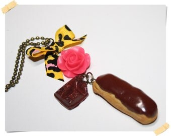 Long necklace French Chocolat eclair polymer clay