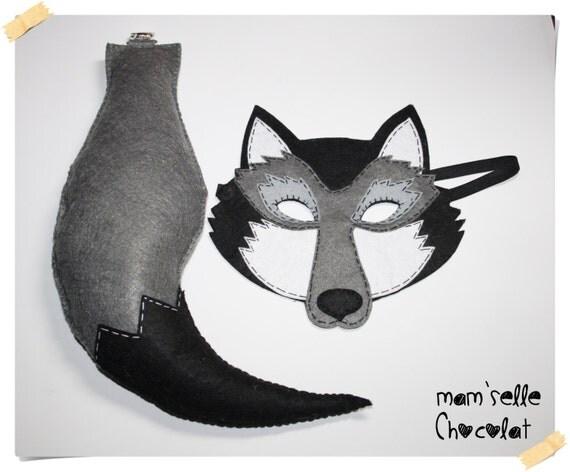 Mascara y cola de lobo de fieltro para niños por MamselleChocolat
