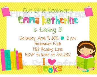 Girl's Bookworm Birthday Invitation
