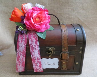 Wedding Trunk, Wedding Card Holder, Card Box, Money Holder, Money Box, Wedding Suitcase, Rustic Wedding Box
