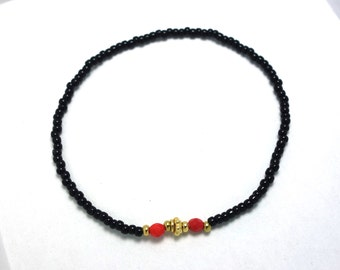 SALE - Black with Red accent Beaded Bracelet - Modern Friendship Bracelet