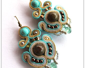oriental soutache earrings, turquoise, purple and red - one pair  to choose