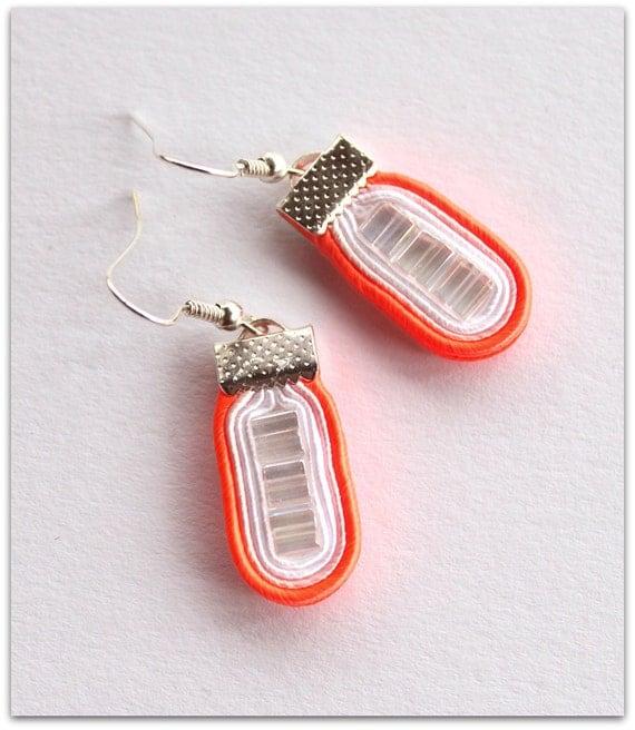 UNIQUE SMALL neon WONDERS soutache earrings