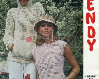 Lady's Sleeveless Top & Hooded Long Sleeved Top DK 32-38in Wendy 1738 Crochet Pattern PDF instant download