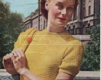 Lady's Twin Set 3-ply 33-35in Weldons 825 Vintage Knitting Pattern PDF instant download
