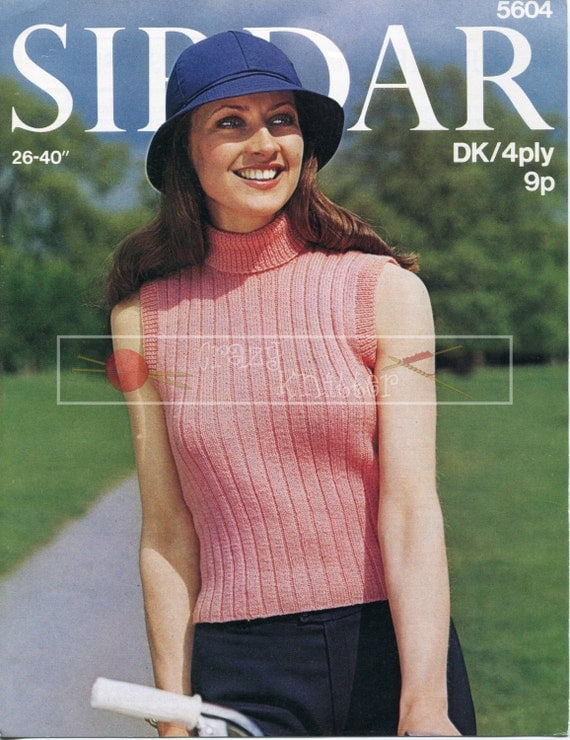 Lady Polo Top DK 4-ply 26-40in incl Teen Sizes Sirdar 5604 Vintage Knitting Pattern PDF instant download