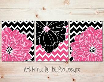 Hot Pink Black Wall Art Tween Bedroom Wall Decor Teen Girls Room Art Modern Chevron Floral Burst Dahlia Art Prints Bathroom Wall Decor #1065