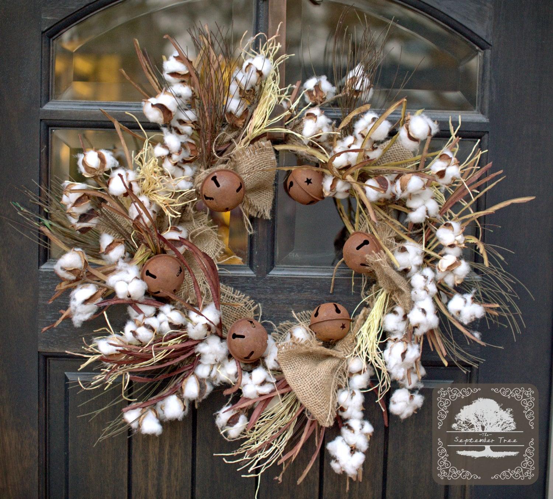 Christmas Wreath Burlap Wreath Cotton Wreath By