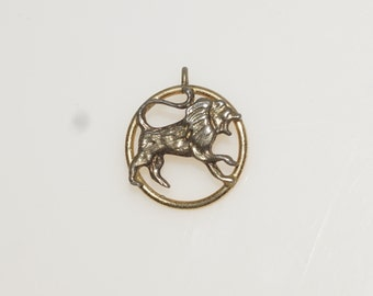 Gold Plated Lion Pendant Charm 5/8""