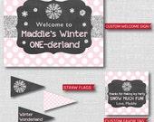 Girl Winter Onederland Birthday Party - Winter Onederland Birthday Printable Party Set - DIGITAL DESIGN