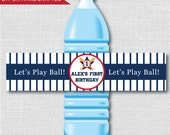 Baseball Party Water Bottle Label - Baseball Birthday Party - Weatherproof Water Bottle Labels - Digital or Handcrafted - FREE SHIPPING