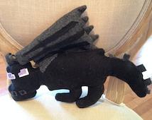 "Minecraft Inspired Enderdragon Black Fleece Pillow/Stuffed Animal, 16""L x 10""H"