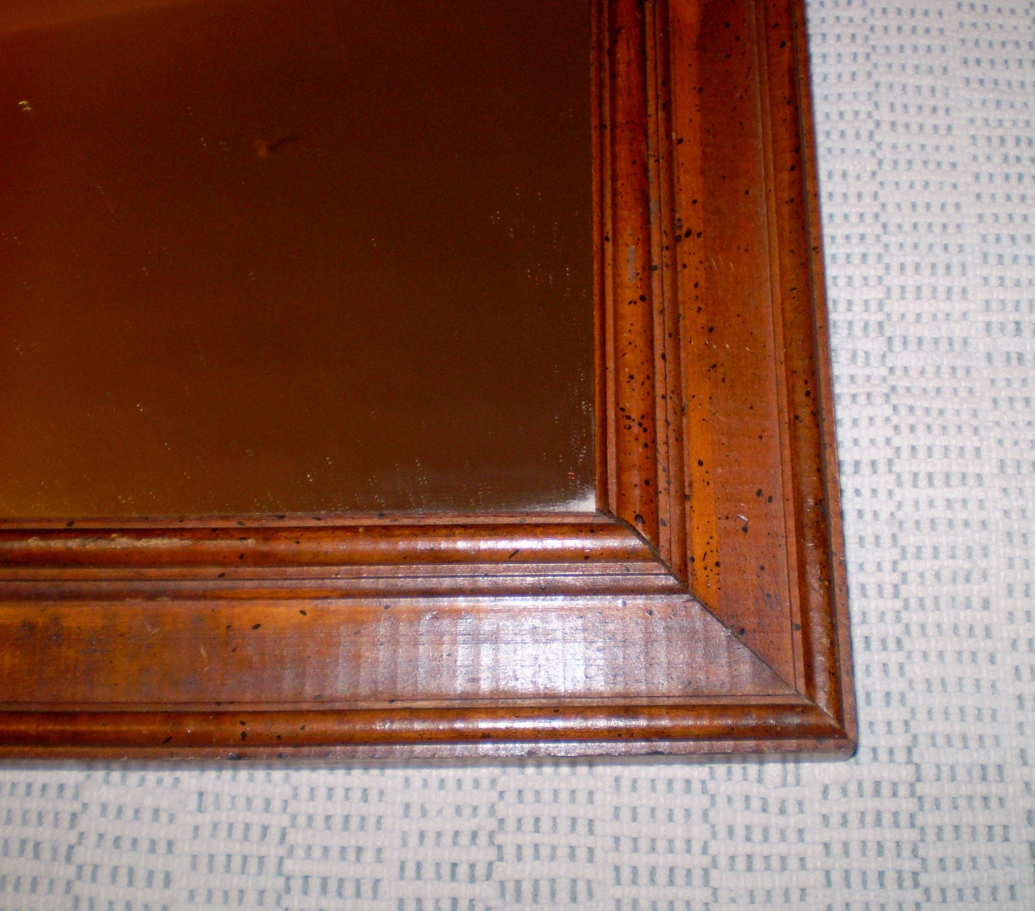 Vintage antique wood wall mirror arts crafts mission style for Antique style wall mirror