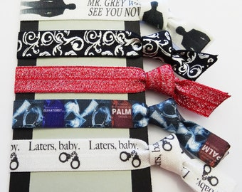 FIFTY SHADES of GREY Fold Over Elastic Hair Tie or Bracelet