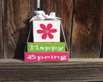 Spring wood mini stacker blocks--Happy Spring flowers