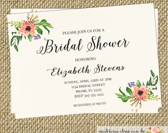 Watercolor Bridal Invitation Rustic Vintage Bridal Shower Baby Shower Modern CHOOSE WORDING