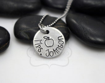 Hand-Stamped Personalized Teacher Name Necklace