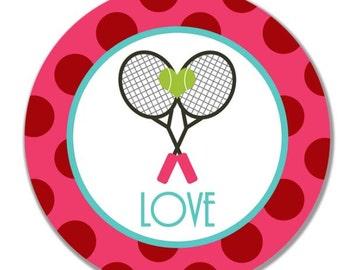 personalized Melamine Plate - custom melamine dish tennis love valentine's day