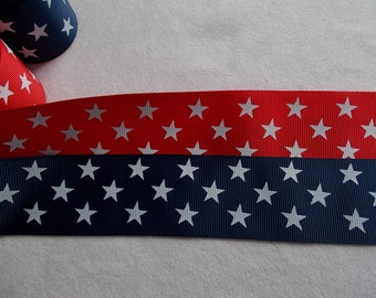 Patriotic Blue with white stars or Red with white stars 1.5in. grosgrain ribbon… 1.25 per yard
