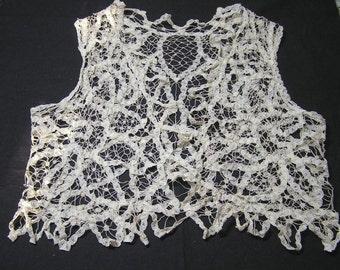 1940s or Earlier Child's Battenberg Lace Vest in Ecru - Exquisite Lace Item