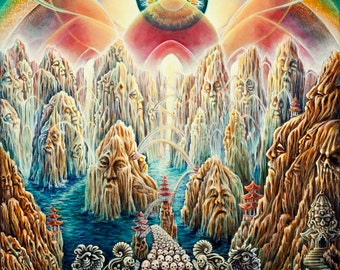 The Bridge to Nirvana - Visionary Fantastic Art by Morgan MandalaPearl Paper Print
