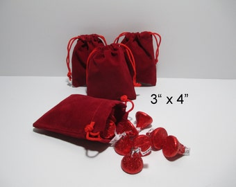 SALE 25 3x4 RED Velvet Drawstring Pouches, Drawstring Favor Bags