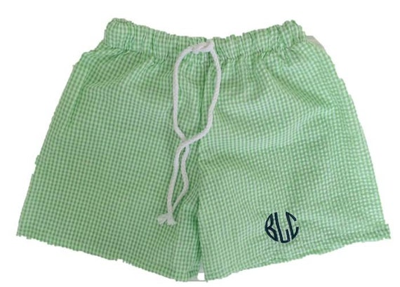 SALE Boys Seersucker Swim Trunks Baby by ShopModernMonograms