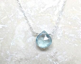 Aquamarine pendant necklace gemstone aqua genuine briolette minimalist sterling silver chain March birthstone feminine simple blue green