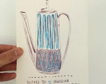 Orwellian Sanctioned Tea - Original Drawing