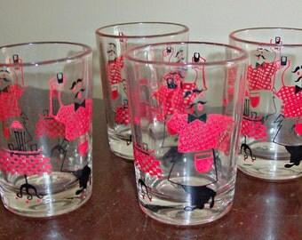4 Vintage Shot Glasses