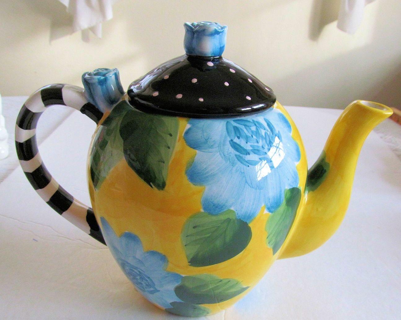Charming Modern Ceramic TEAPOT Blue ROSES & DAHLIAS Yellow