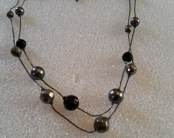 """very nice vintage bead necklace adjustable 18 and 20"""""""