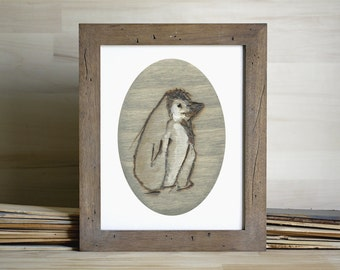 Gray Penguin Art Print, Penguin Wall Art, thepaintedgrove