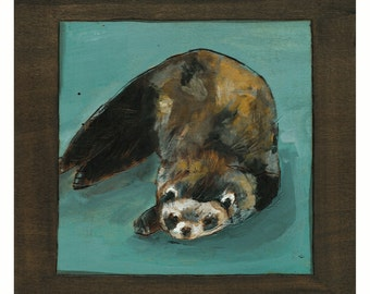 Ferret Art Print, Cute Ferret Art, Ferret Wall Art, Ferret Painting, thepaintedgrove